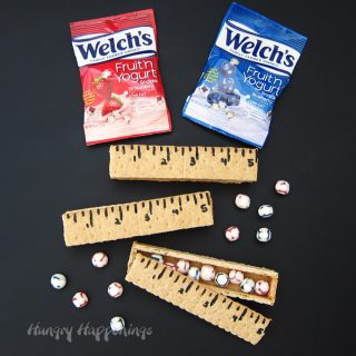 "Graham Cracker Rulers filled with Welch's Fruit ""N Yogurt Snacks are fun back to school treats."