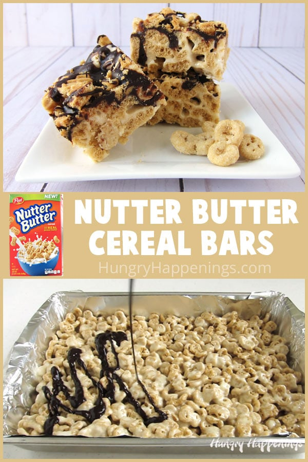 Grab a box of the new Post® NUTTER BUTTER® Cereal to make these chocolate ganache drizzled Nutter Butter Cereal Bars. You can have an entire pan of these peanut buttery marshmallow cereal bars made in under 10 minutes.