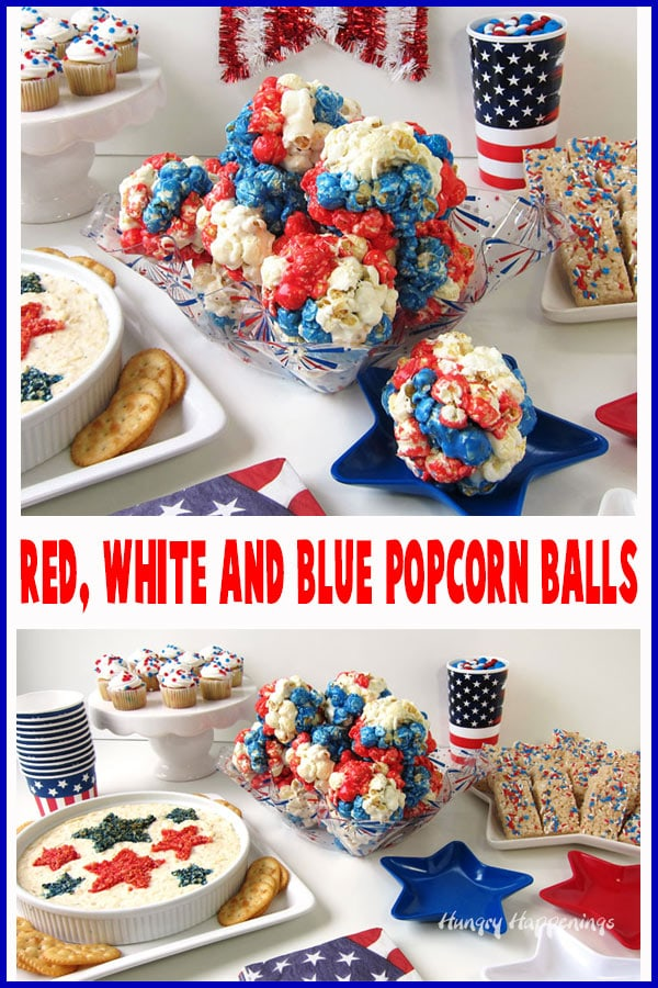 Get ready for your 4th of July party by making some fun Red, White, and Blue Popcorn Balls. These marshmallow coated popcorn balls are brightly colored for this patriotic holiday and are super easy to make.