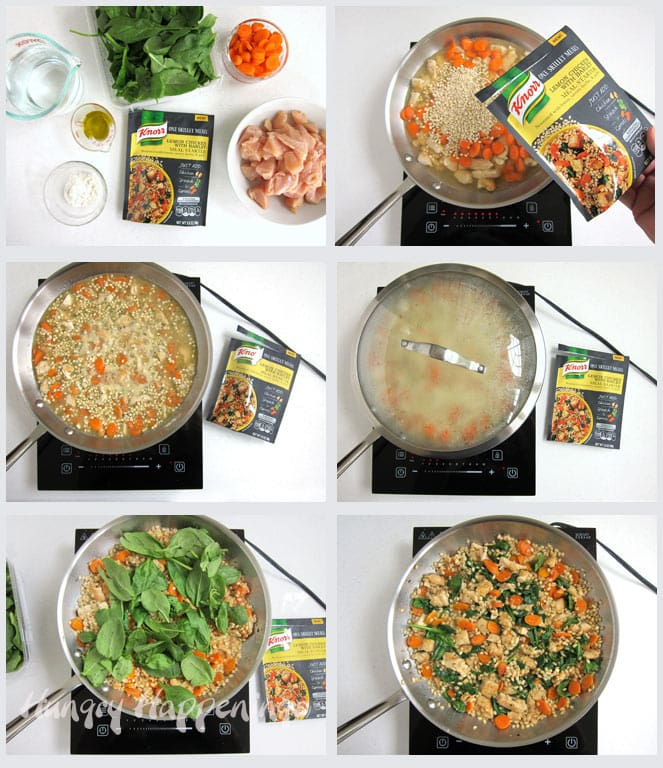 Knorr Skillet Meals Lemon Chicken and Barley with carrots and spinach.
