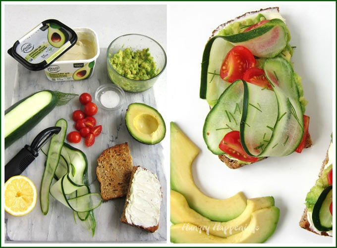 How to make avocado toast topped with smashed avocados, ribbons of cucumbers, cherry tomatoes, and Pure Blends Avocado Oil Butter Spread.