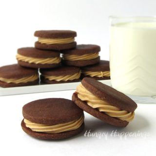 Chocolate Peanut Butter Cookies served with a cold glass of milk make a perfect snack.