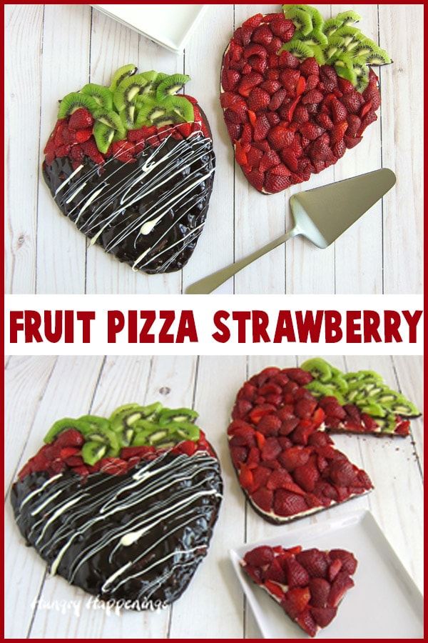 Chocolate dipped Fruit Pizza topped with strawberries and kiwi.