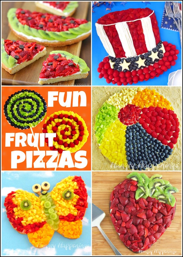 Fun Fruit Pizzas - Strawberry Kiwi Fruit Pizza Watermelon, Uncle Sam Hat Fruit Pizza, Fruit Pizza Lollipops, Fruit Pizza Beach Ball, Fruit Pizza Butterfly, Fruit Pizza Strawberry