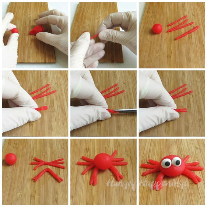 How to make candy crabs using red taffy, fondant, or candy clay (modeling chocolate).