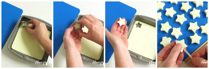 How to cut egg whites using a star shaped cookie cutter to make Deviled Egg Star Pops.