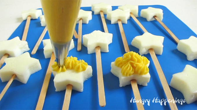 How to pipe filling onto Deviled Egg Star Pops.