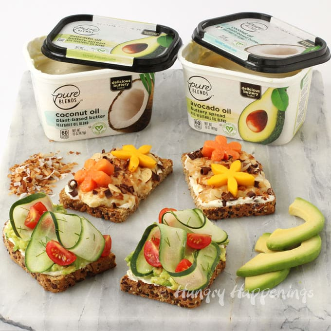 Pure Blends Avocado Oil and Coconut Oil spreads make great avocado toast and tropical toast.