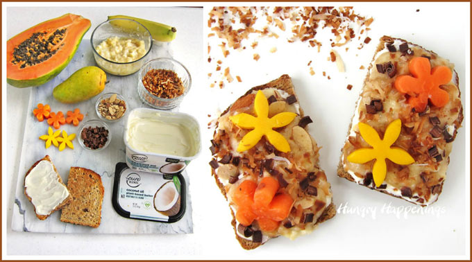 Tropical Toast topped with Pure Blends Coconut Oil Spread, bananas, toasted coconut, chocolate shavings, almonds, mango, and papaya flowers.