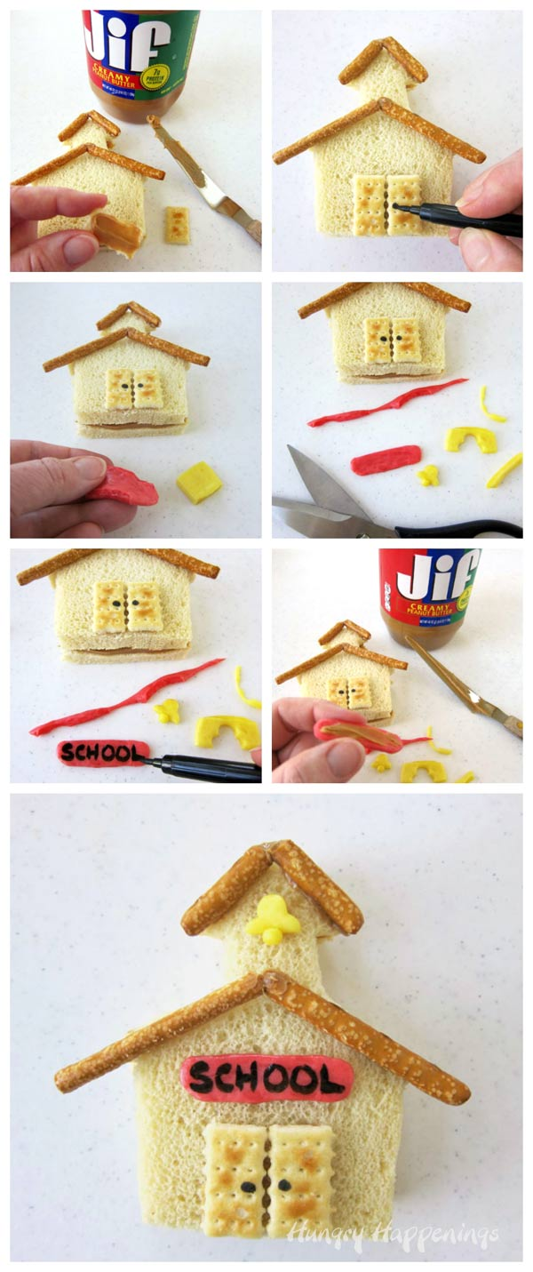 How to make a peanut butter and jelly schoolhouse for a back to school lunch.