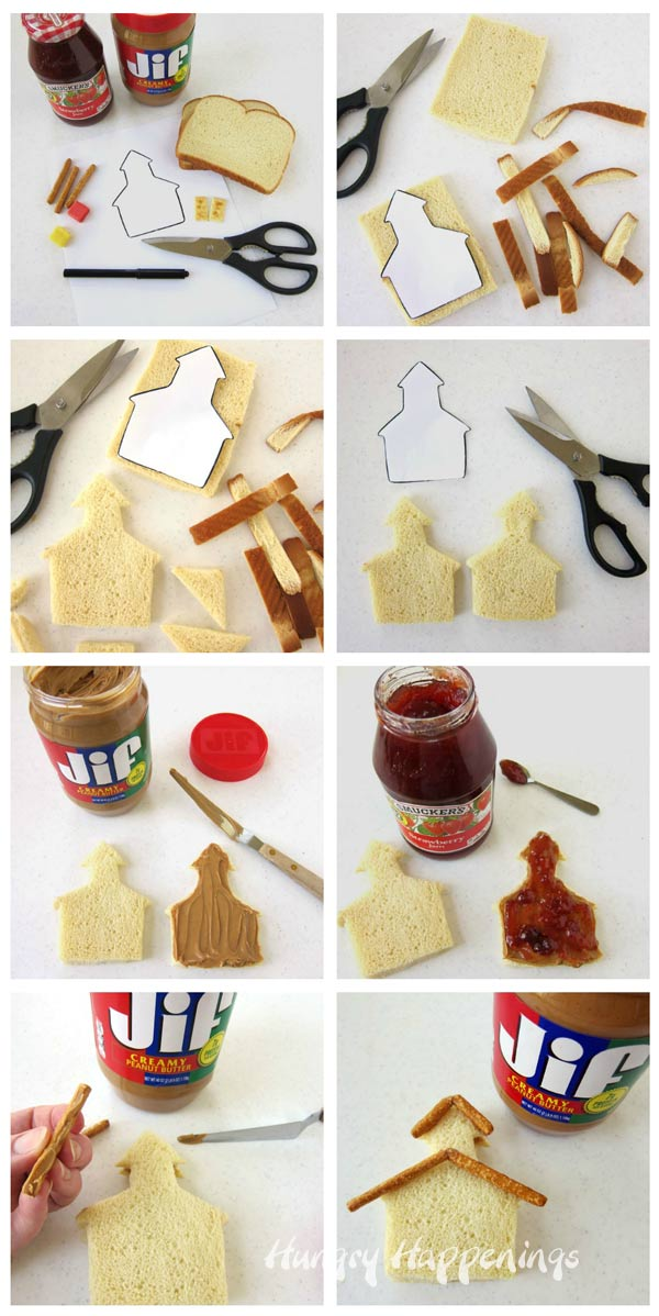 Step-by-step guide for how to make a peanut butter and jelly sandwich schoolhouse.