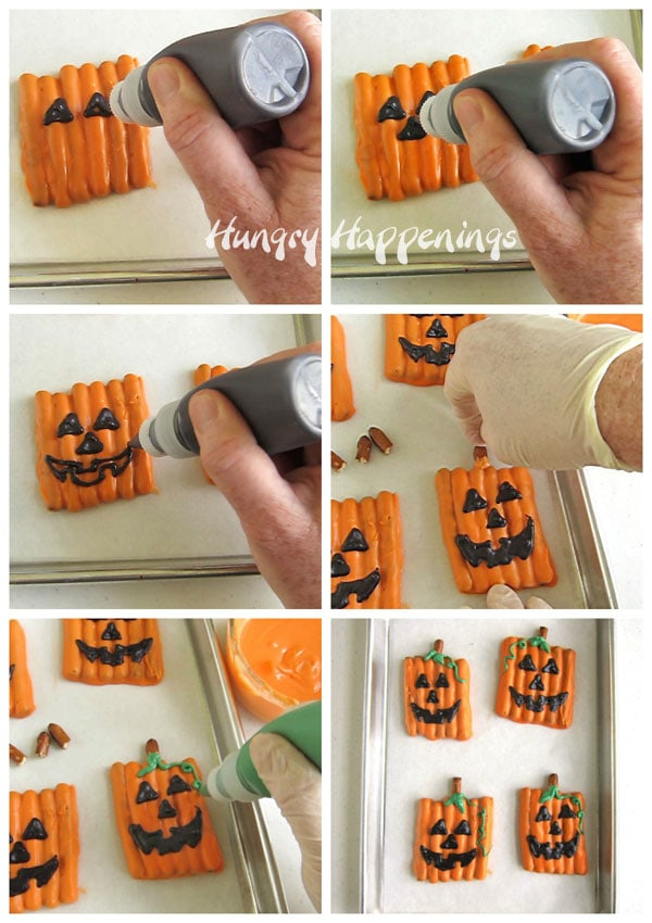collage of six images showing how to pipe a jack-o-lantern face onto a pumpkin pretzel using a squeeze bottle and black candy melts then adding a pretzel stem and green leaves and vine