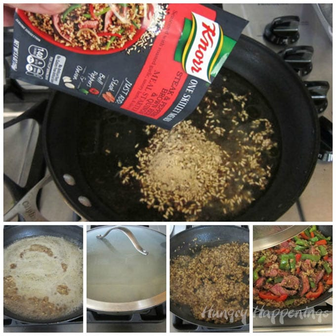 How to make a Knorr One Skillet Meals with Steak, Peppers, Brown Rice, and Quinoa.
