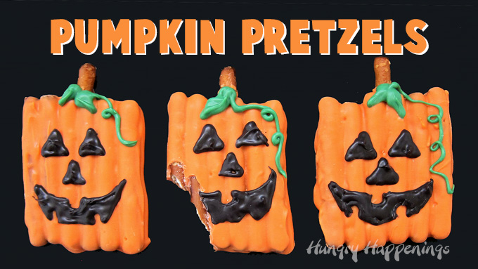 "row of three pumpkin pretzels on a black background with the words ""pumpkin pretzels"" above the treats"