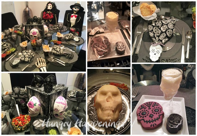 collage of images of day of the dead dinner party where I served enchilad skulls, skull cookies, cheesecake mousse skulls, and Mexican Hot Chocolate Sugar Skull Truffles