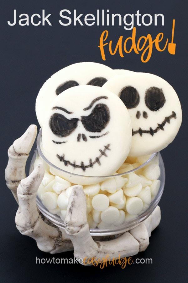 Jack Skellington fudge in a creepy skeleton bowl on a black background.