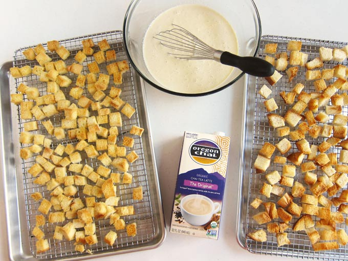 toasted cubes of bread and custard to make chai tea bread pudding