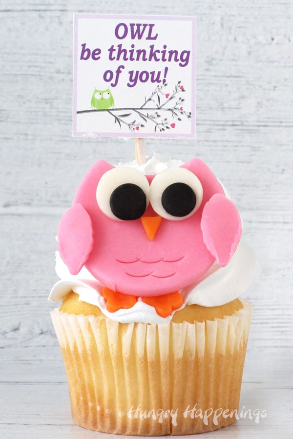 pink candy clay owl perched on top of a vanilla cupcake with whipped white frosting