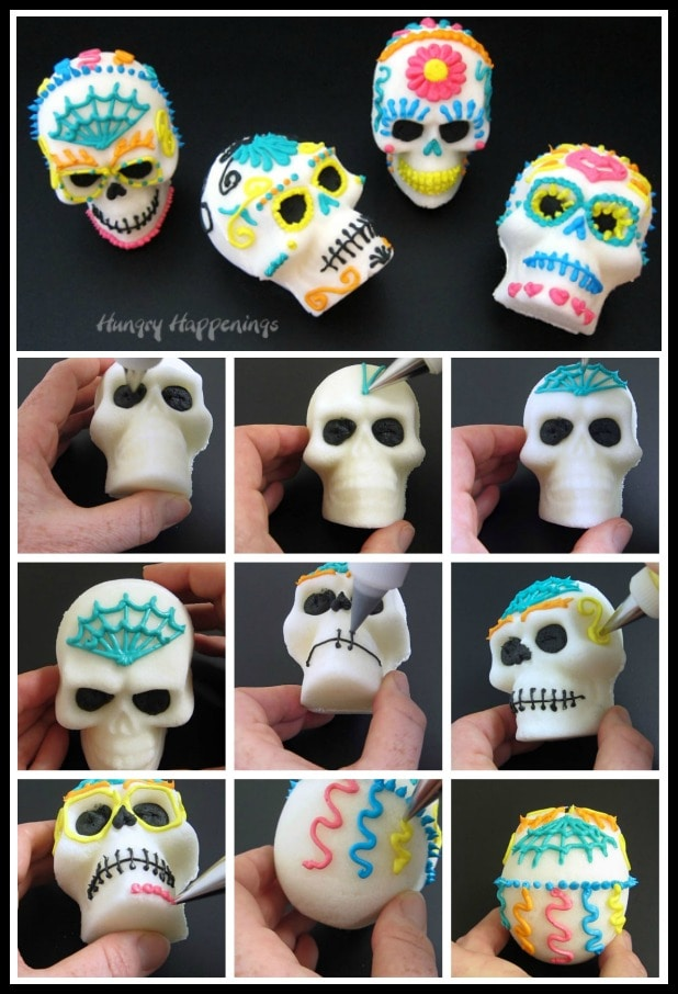 collage of images showing how to decorate a sugar skull using royal icing