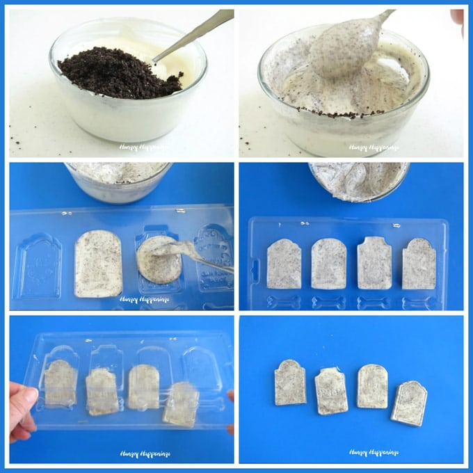 collage of images showing how to make cookies and cream tombstones using a candy mold