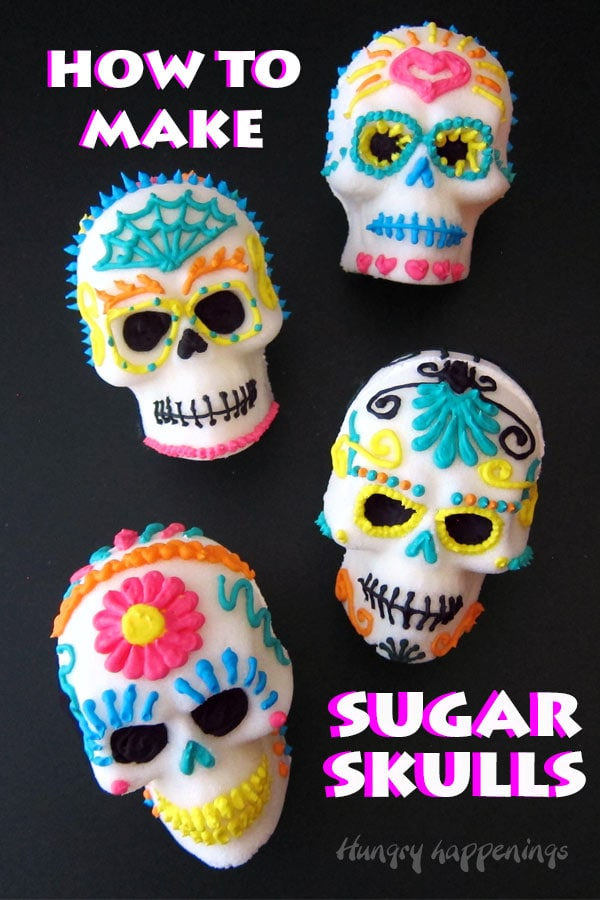 how to make sugar skulls tutorial image with 4 decorated sugar skulls on a black background