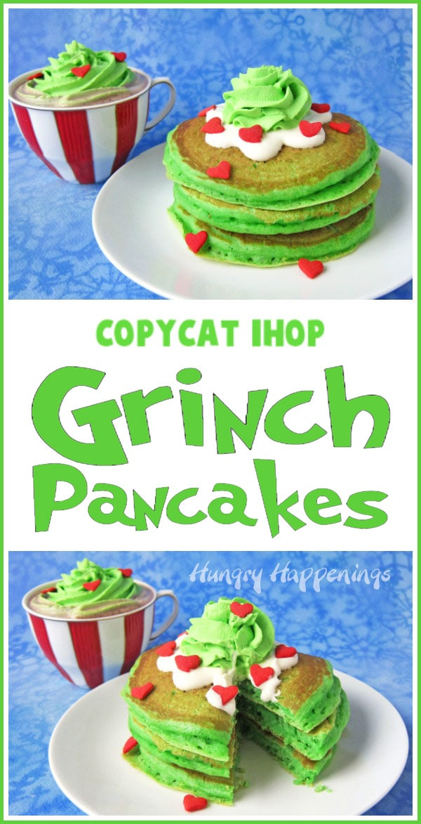 collage of images showing copycat IHOP Grinch pancakes topped with cream cheese icing, green whipped cream, and red candy hearts
