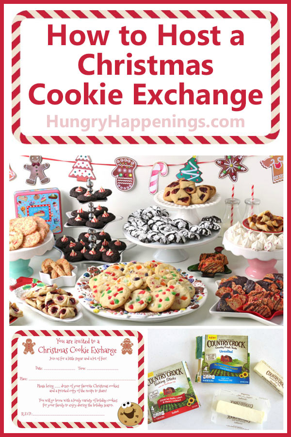 collage of images showing how to host a holiday cookie exhange