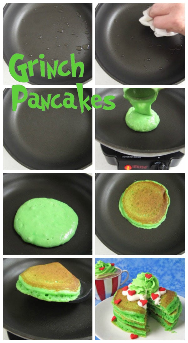collage of images showing how to cook green Grinch pancakes in a skillet