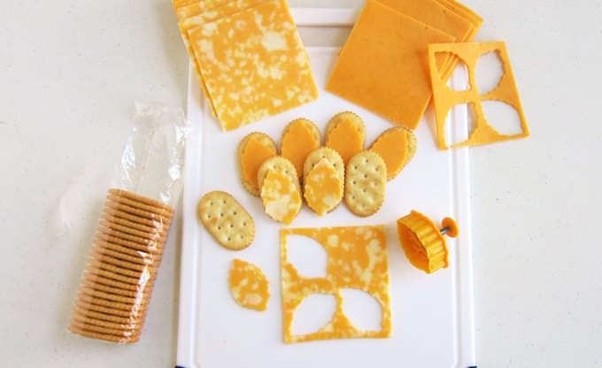 how to cut leaf shaped cheese to use to make a turkey cheese platter