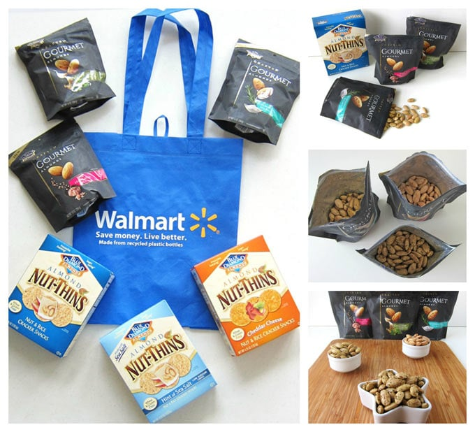 Collage of images showing bags of Blue Diamond Gourmet Almonds and boxes of Nut-Thins