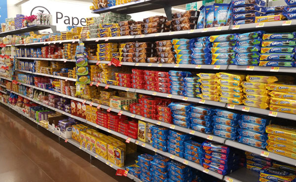 cookie aisle at Walmart