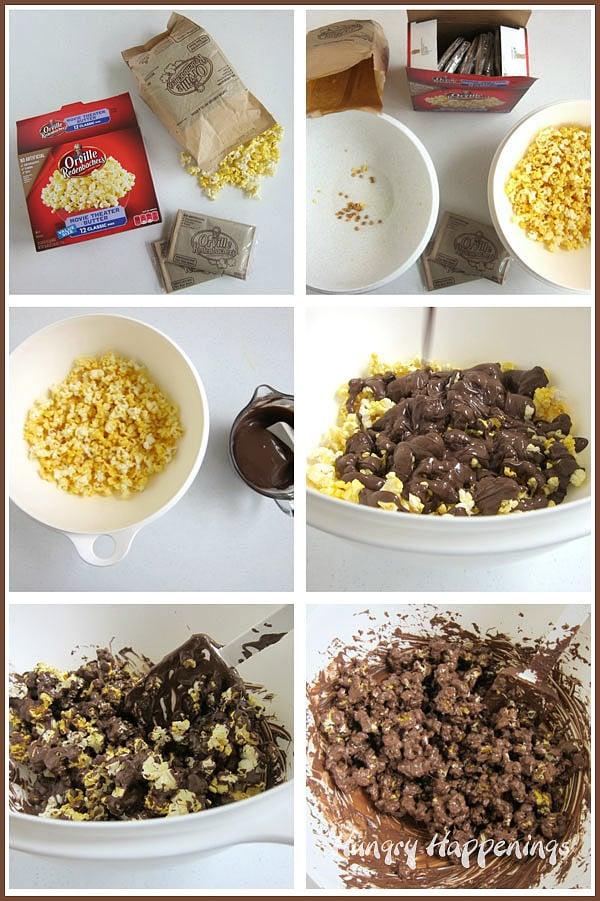 collage of images showing how to make chocolate covered popcorn using Orville Redenbacher's Movie Theater Butter Popcorn