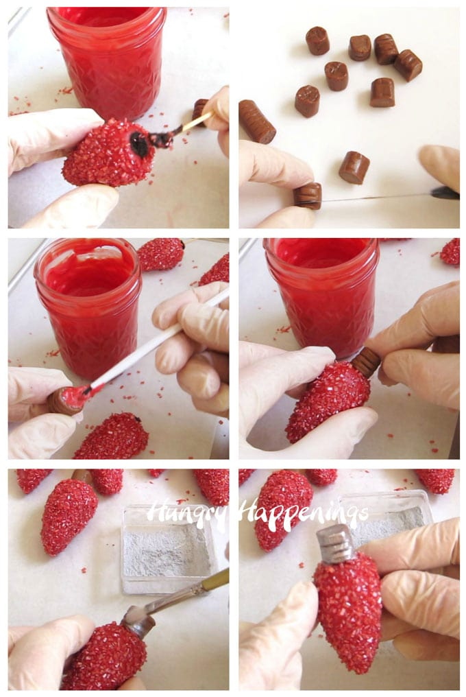 Collage of images showing how to make the screw base for the OREO Cookie Ball Christmas Lights using Tootsie Rolls.