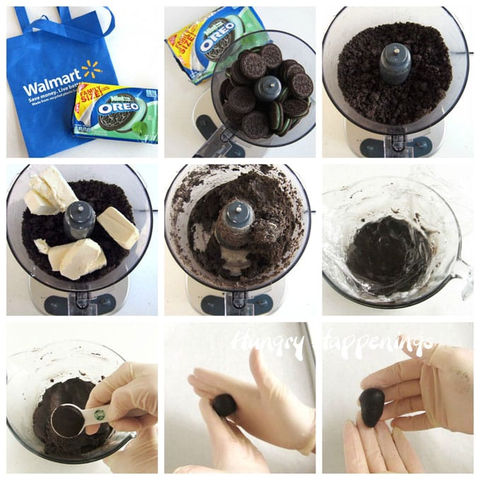 Collage of images showing how to make OREO Cookie Balls in a food processor.