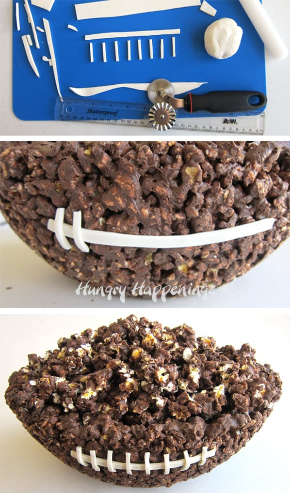 collage of images showing how to cut white modeling chocolate to create the laces on the chocolate popcorn bowl football