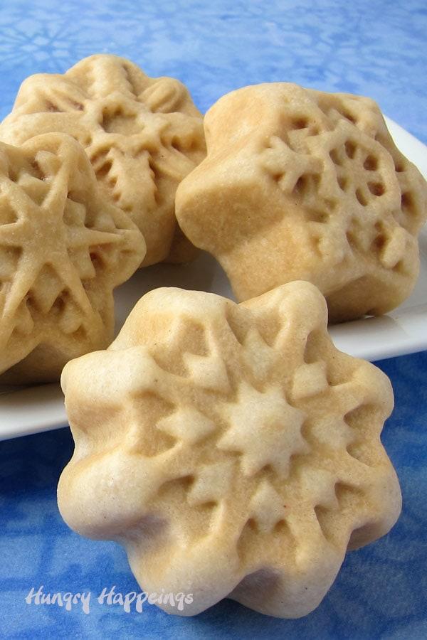 Closeup image of the snowflake breakfast burritos