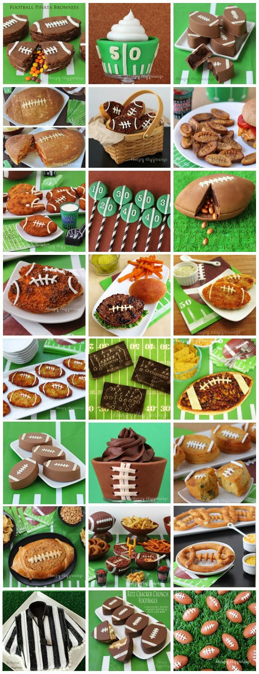 collage of images of football themed food