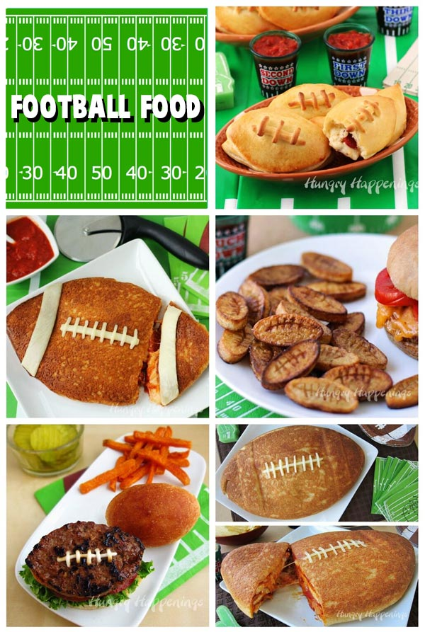 Collage of Super Bowl Party Food images including Calzone Footballs, Pizza Football, Football Burger and Fries, and more.