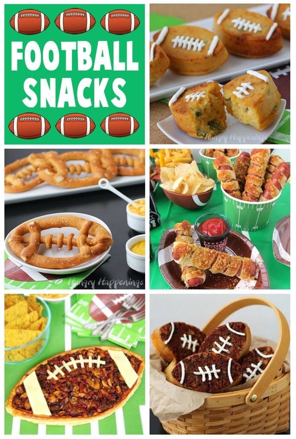 Football snacks including Soft Pretzel Footballs, Mushroom Tart Football, Jalapeno Corn Bread Footballs, Bacon Cheddar Football Bread and more. Recipe at HungryHappenings.com. #footballsnacks #superbowlpartyfood