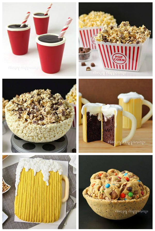 collage of fun party food including Red Solo Cup Truffles, Twix Popcorn, White Chocolate Popcorn Bowl, Bear Mug Cupcakes, Beer Mug Cake, and a Chocolate Chip Cookie Bowl