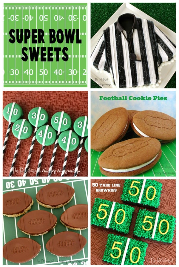 collage of images featuring Super Bowl sweets including a Referee Cake, Yard Line OREO Cookie Pops, Football Cookie Pies, Chocolate Rice Krispie Treat Footballs, and Yard Line Brownies.