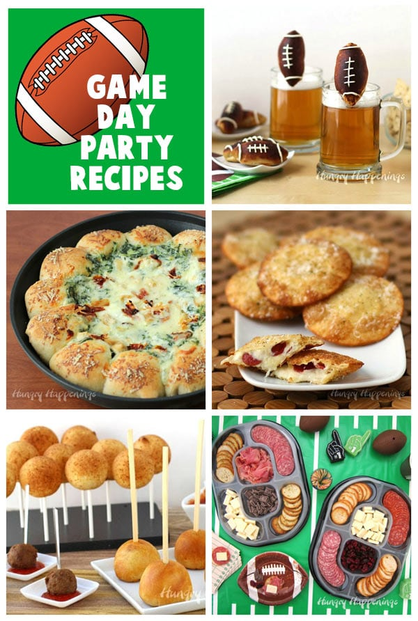 Collage of images featuring Cheese Stuffed Pretzel Footballs, Skillet Dip, Fried Cheese & Pepperoni Ravioli, Meatball Lasagna Pops, and Hillshire Social Snacking Platters.