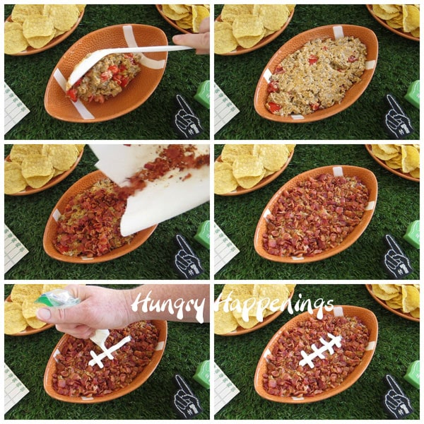 Collage of images showing how to make a football cheeseburger dip topped with bacon and sour cream.