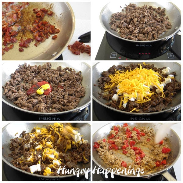 collage of images showing how to make cheeseburger dip using bacon, hamburger, ketchup, mustard, Worcestershire sauce, sour cream, cream cheese, cheddar cheese, and tomatoes.