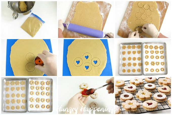 Collage of images showing how to roll out and cut out Linzer Cookie Dough, then bake them and add fillings like raspberry preserves, lemon curd, and Nutella.