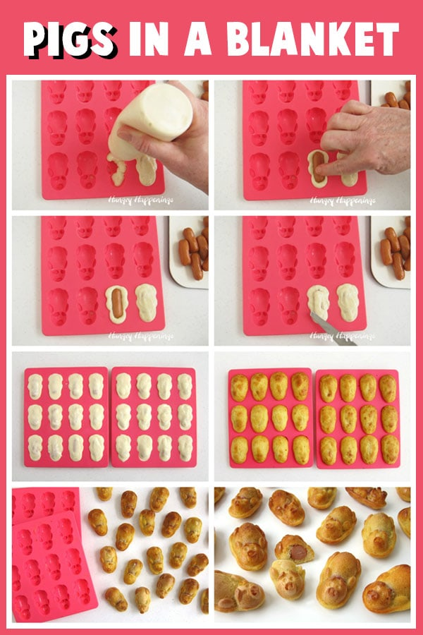 collage of images showing how to make pigs in a blanket using a silicone pig shaped mold, pancake batter, and little smokies