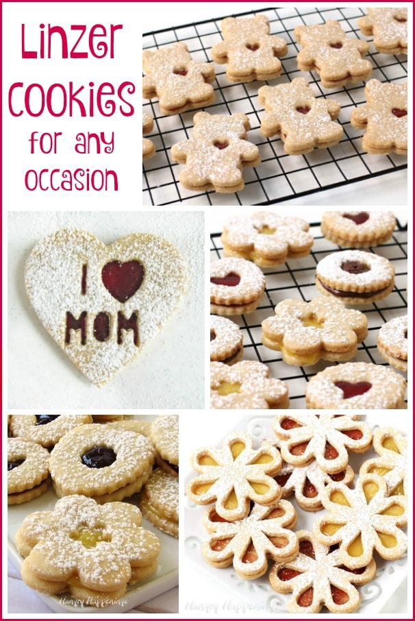 Collage of images showing various Linzer Cookies including teddy bears, hearts, daisies and more.