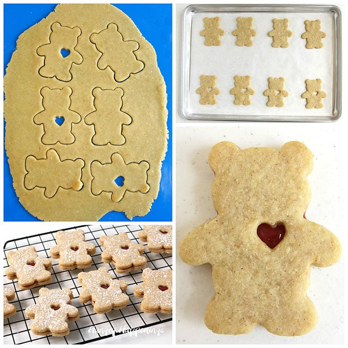 Collage of images showing how to cut Linzer Cookie Dough using a Teddy Bear Cutter then cutting a small heart out of half of the cookies and sandwiching them together with some raspberry jam.