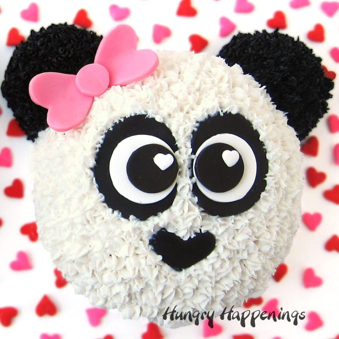Cute Panda Bear Cake With A Pink Bow Is Decorated Frosting And Modeling Chocolate