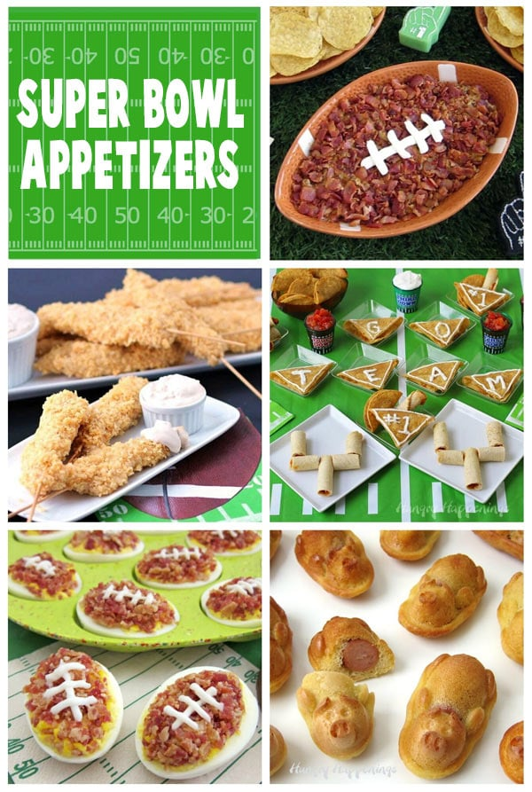 Amazing Super Bowl appetizers including Cheeseburger Dip Football, Chip 'n Dip Chicken Skewers, Deviled Egg Footballs, Pigs in a Blanket, and Taquitos. Recipes at HungryHappenings.com. #superbowlappetizers #appetizers #snacks